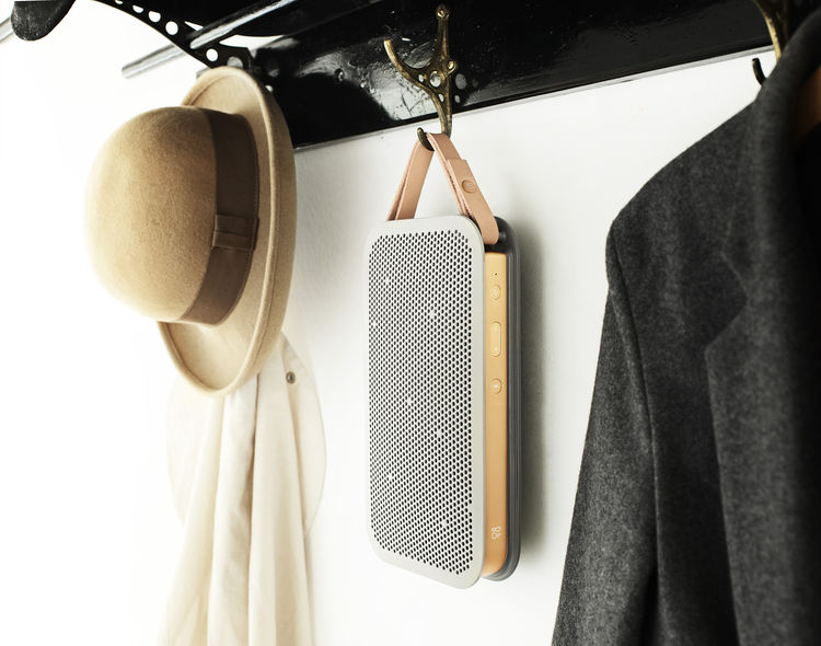 Minimalist portable speaker with metallic and leather accents