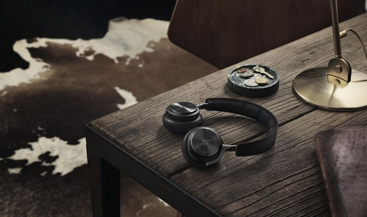 Wireless bluetooth headphones with lambskin and textile accents