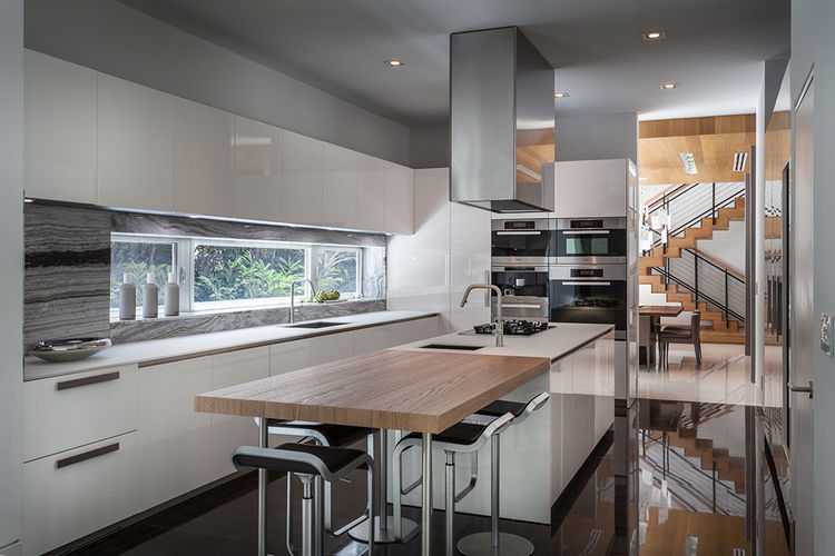 Modern kitchen with wood and stone