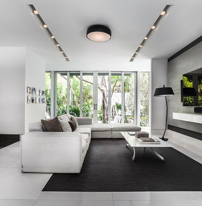 Modern living room with a black and white palette