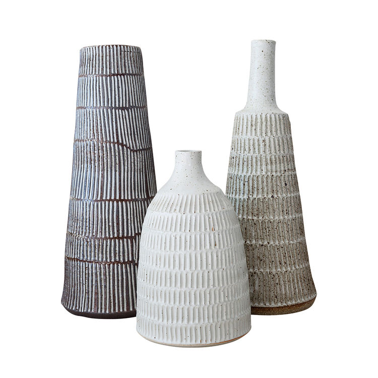 Stripe and Scandi Lamps (bases shown here) by Mt. Washington Pottery, made in Los Angeles.