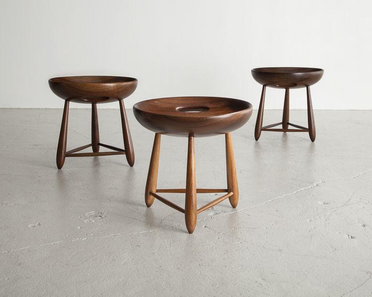 1954 Brazilian hardwood stools by Sergio Rodrigues.