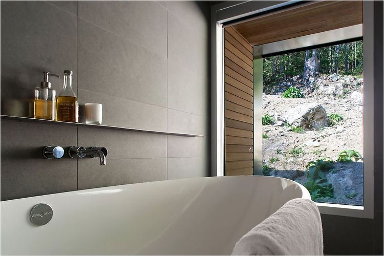 Bathroom with a view in a British Columbia cabin