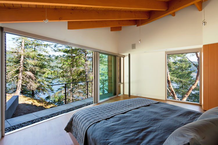 Master bedroom in a British Columbia cabin