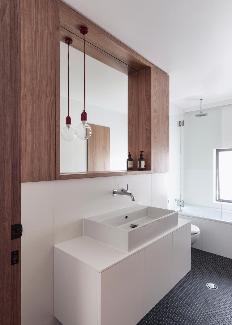 Bathroom in a bungalow with a modern addition