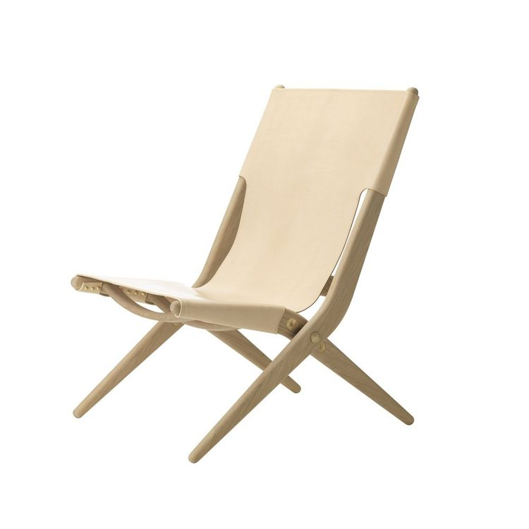 Luxe folding chair with leather seat and oak frame