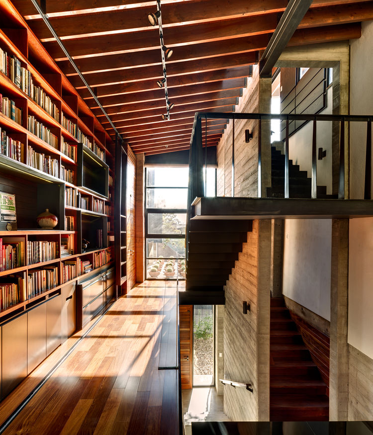Calle Segunda home library and staircase