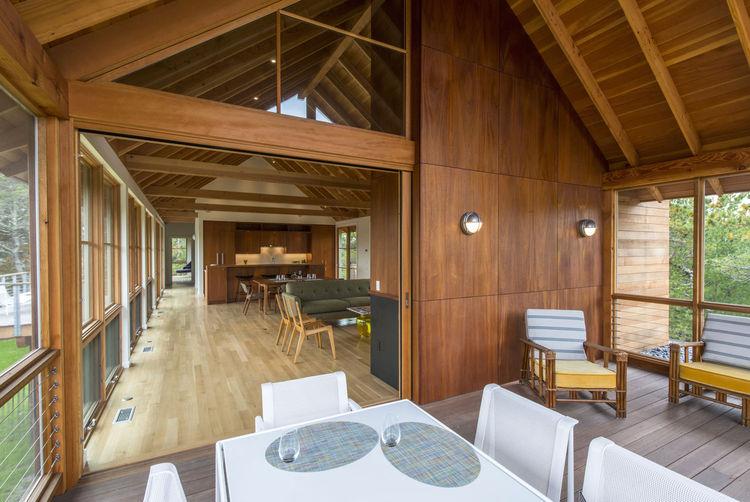 Cozy wood interior of a Cape Cod cabin