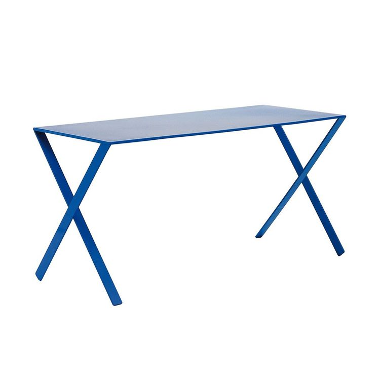 Blue metal dining table with criss-cross legs