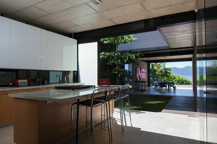 Modern kitchen with a lake view