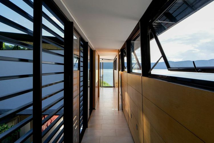 Hallway with open windows and breezes