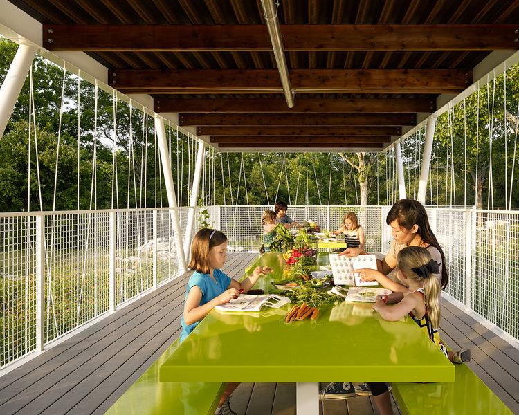 modern outdoor classroom garden picnic table