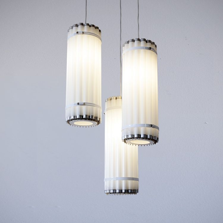 Pendant light made from recycled fluorescent tubes