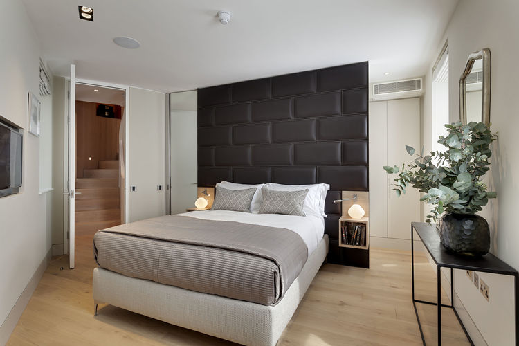 Modern bedroom in a narrow London house