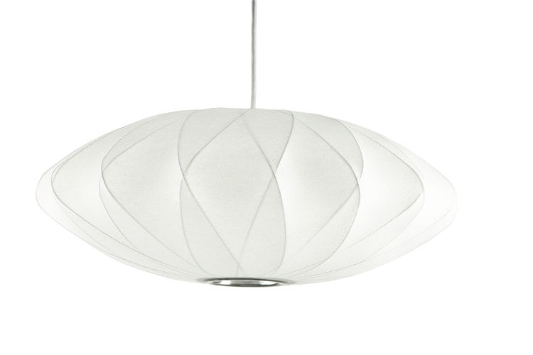 Classic saucer pendant with criss cross frame