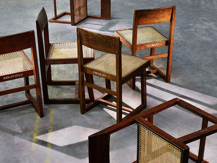 modern furniture design Pierre Jeanneret chandigarh chair teak cane