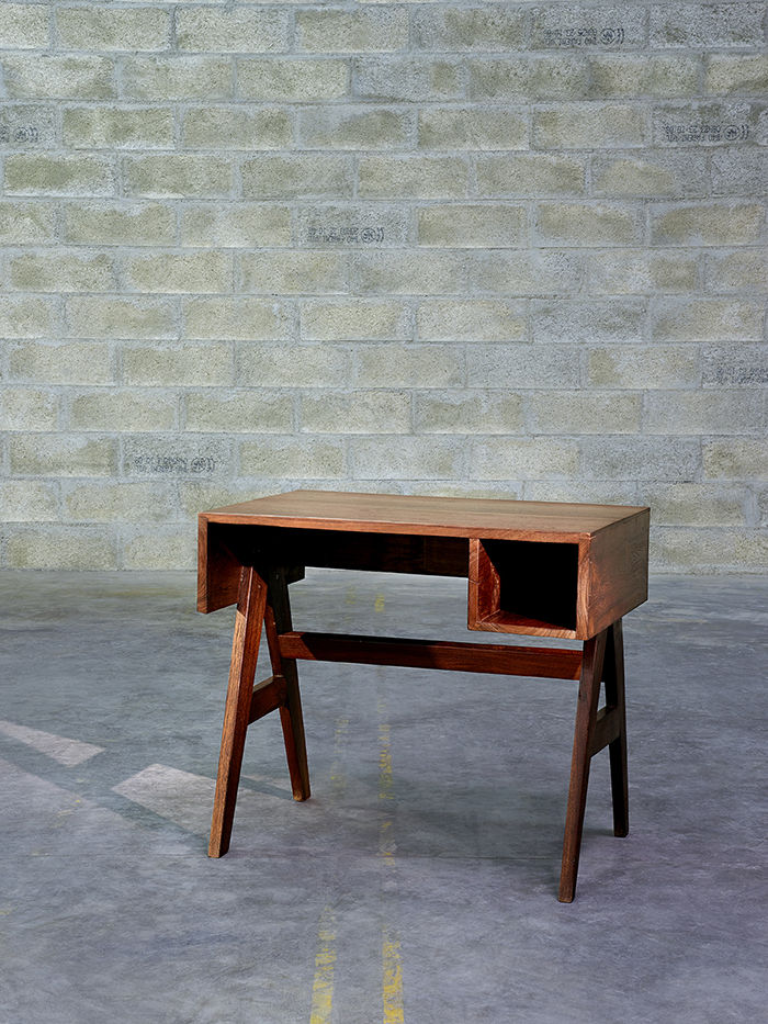modern furniture design Pierre Jeanneret chandigarh desk teak lateral drawers