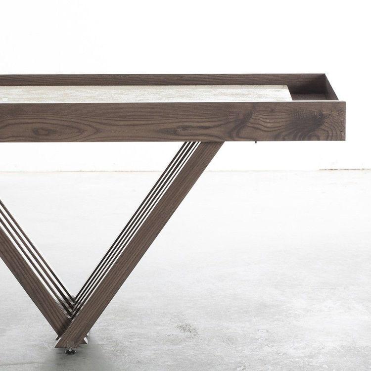 Ash wood shuffleboard table with grey finish