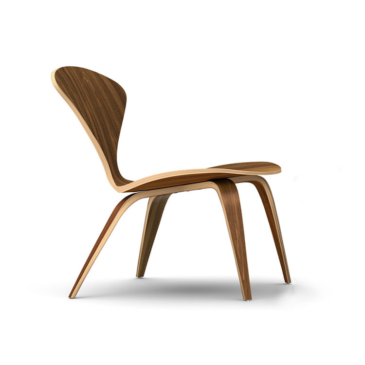 Molded plywood side chair in walnut wood