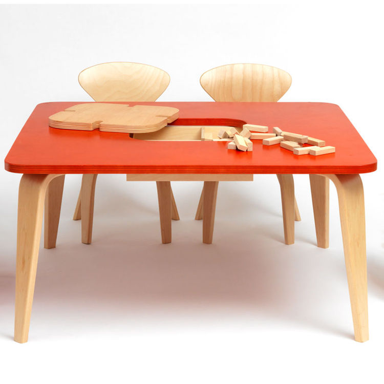 Children's classroom table with molded plywood chairs