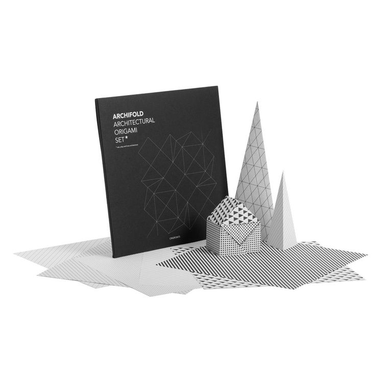 Architectural origami set with black and white paper