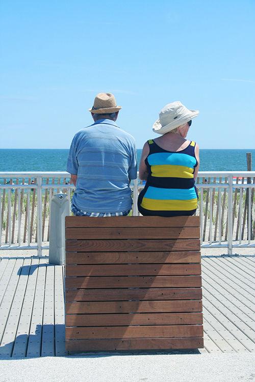 Rockaway Beach boardwalk benches