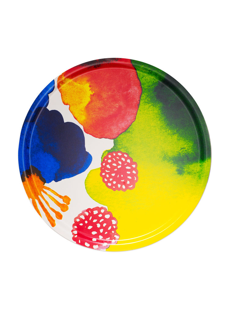 Vibrant oversized tray made from Marimekko fabric and melamine