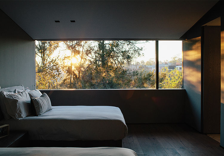 Bedroom overlooking woodland in a Mexico City home