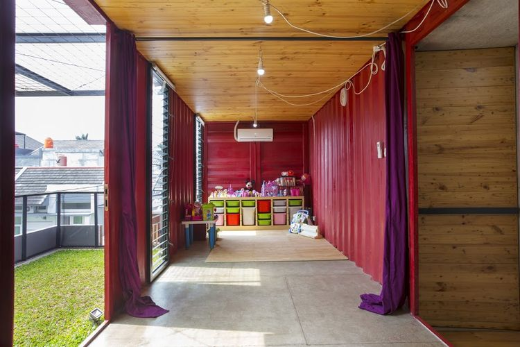 Shipping container playroom.