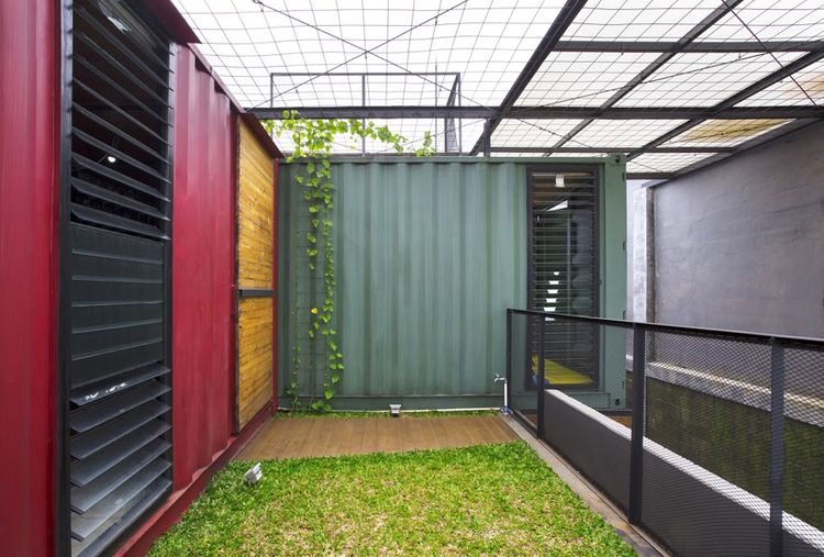 Container home with a rooftop garden.
