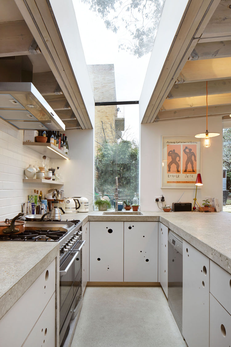 London kitchen with a concrete countertop