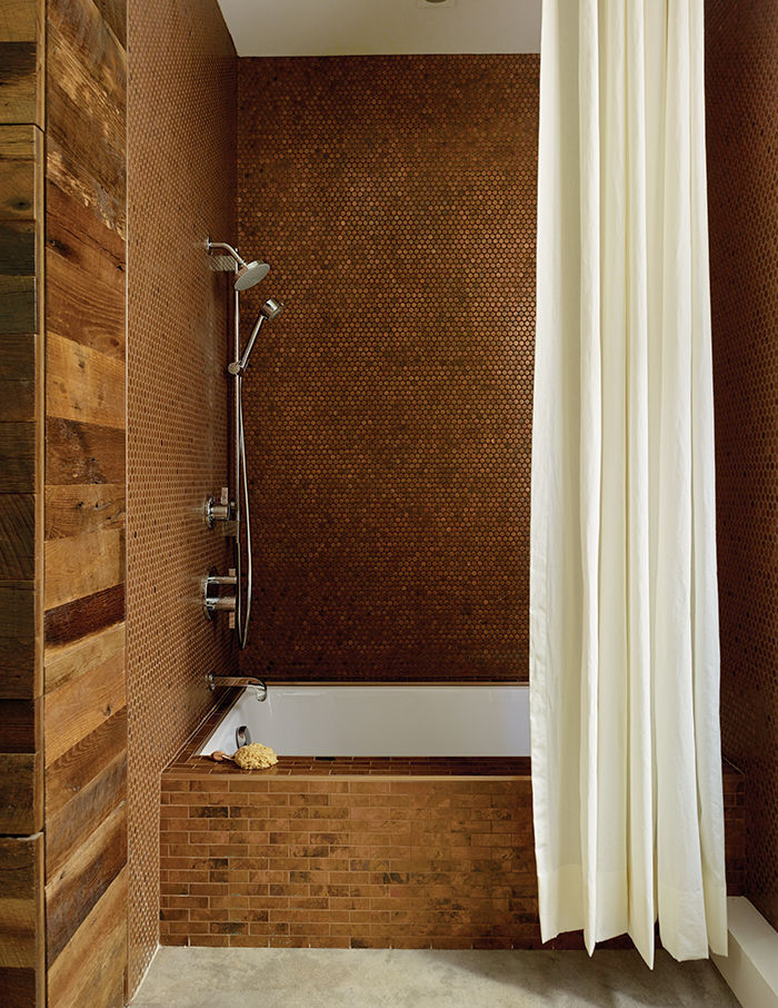 copper, Penny tile bathroom in San Francisco with reclaimed oak and concrete floor