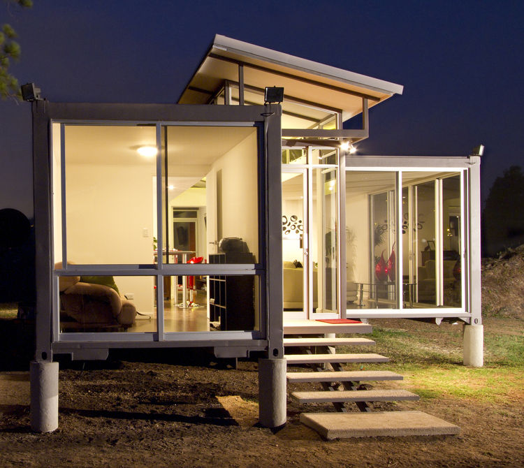 Aluminum-framed clerestory windows of a Costa Rica container home