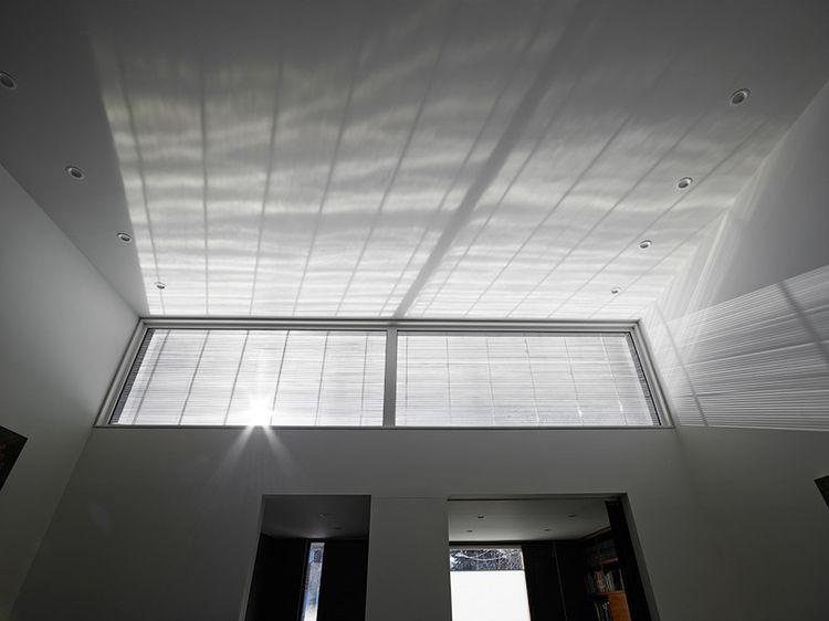 Interior view of an exterior light screen