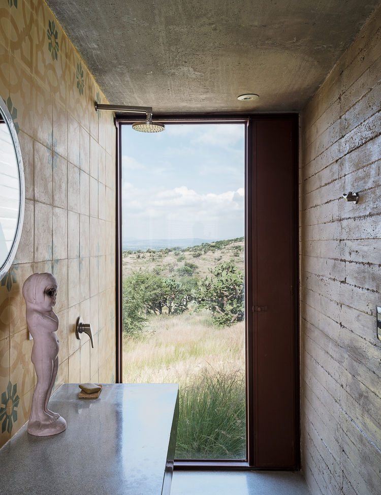 Mexican encaustic tiles line this bathroom