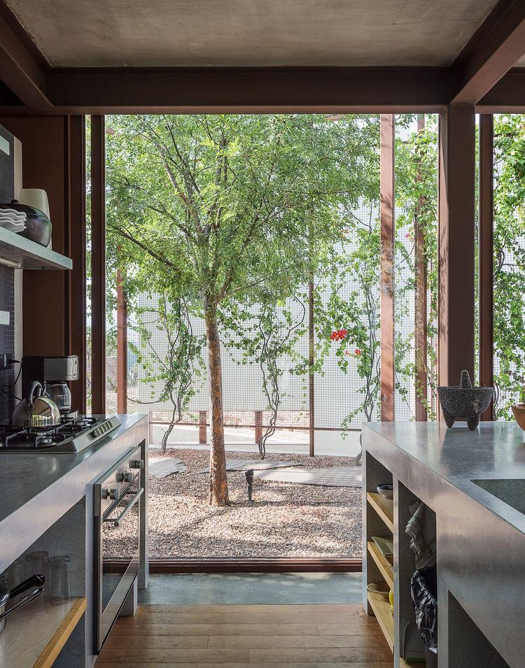 Kitchen with custom granite-and-terrazzo counters