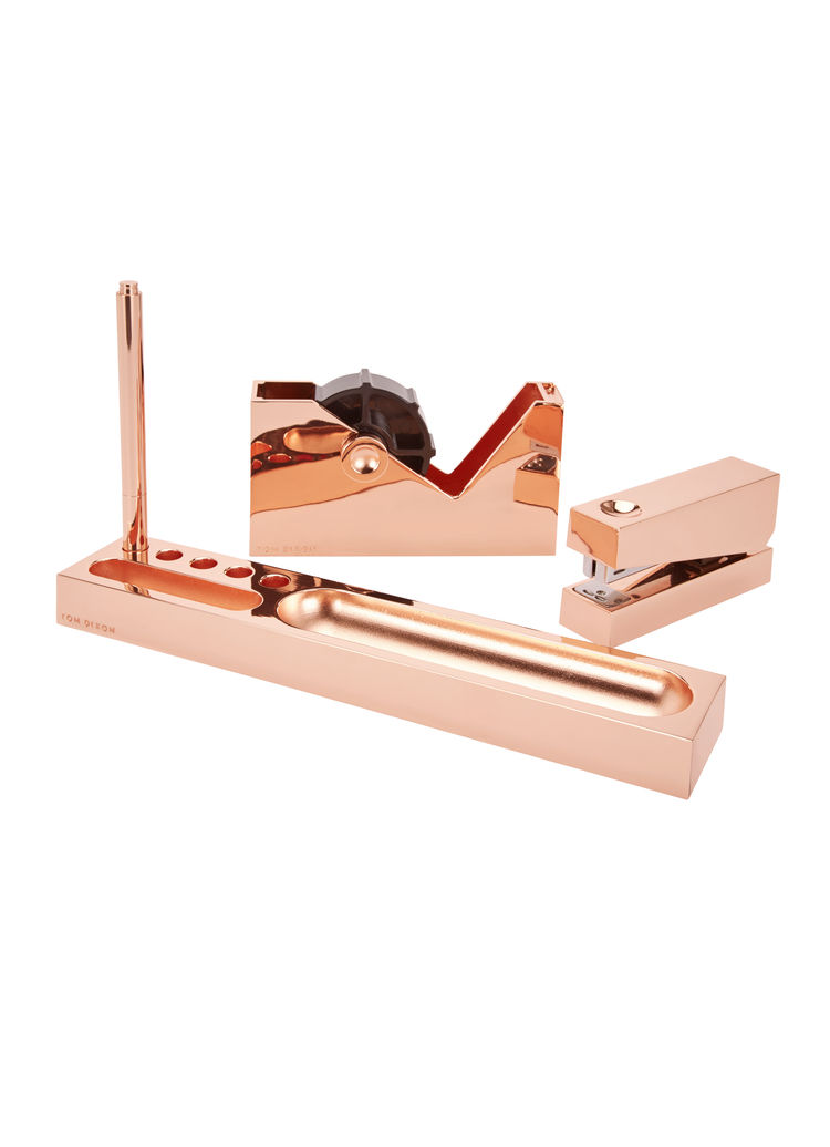 Copper-plated metal desk accessory collection