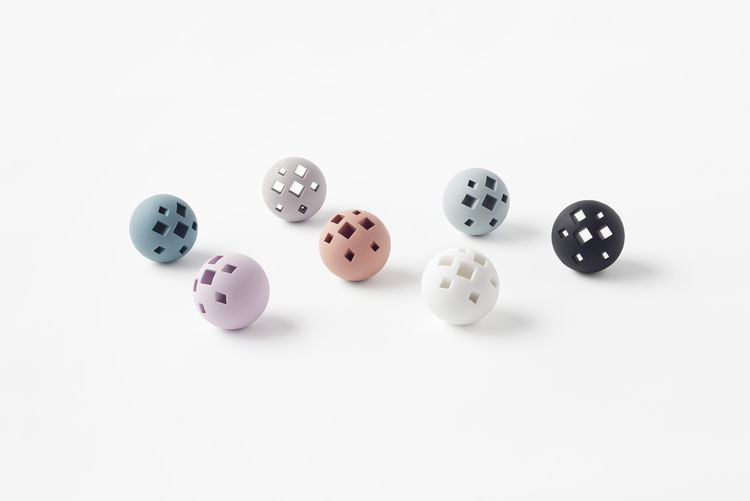 Toy balls from the collection of pet toys by Nendo.