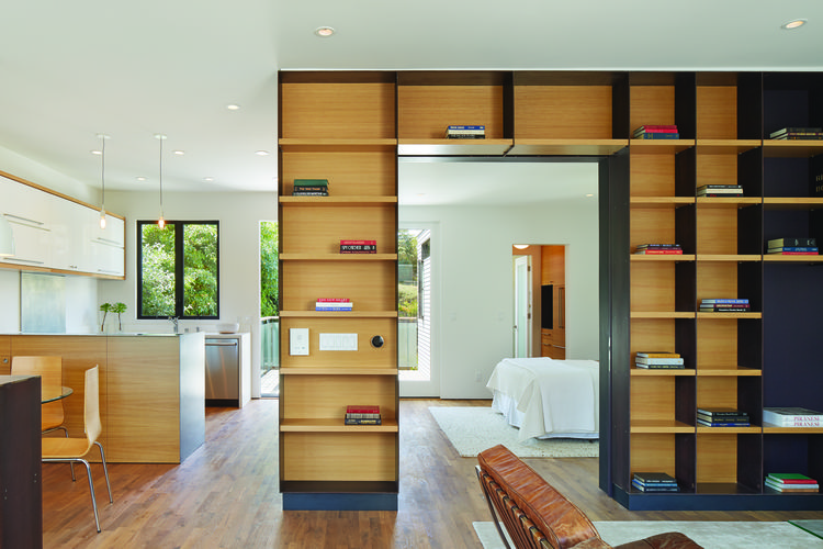 Steel and plywood custom shelves of San Francisco renovation and addition by Zack | de Vito Architecture + Construction.