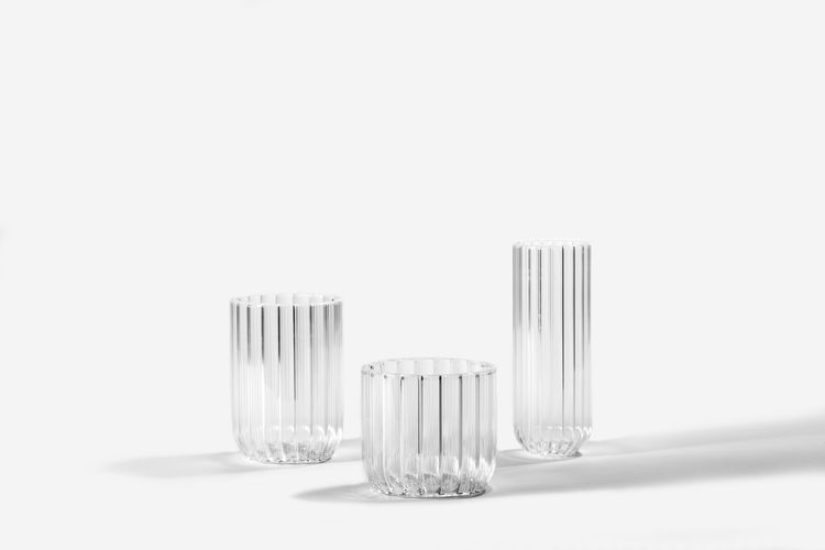 Sculptural glassware with pleated details