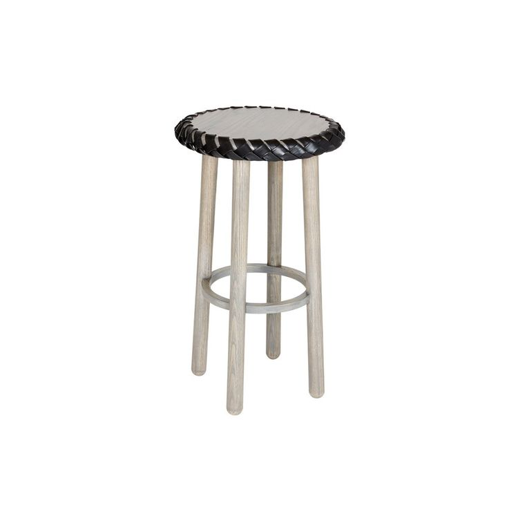 Barstool with leather and textile braided seat