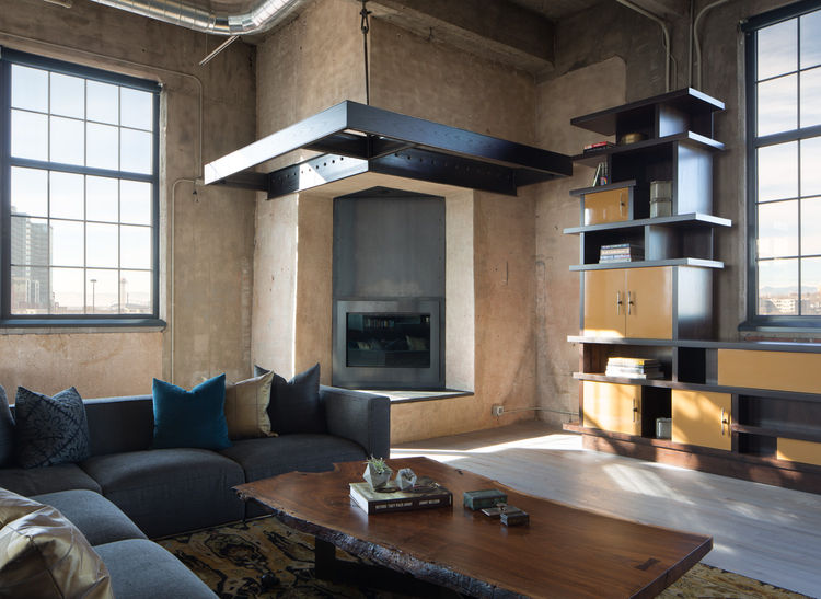Tall modern fireplace
