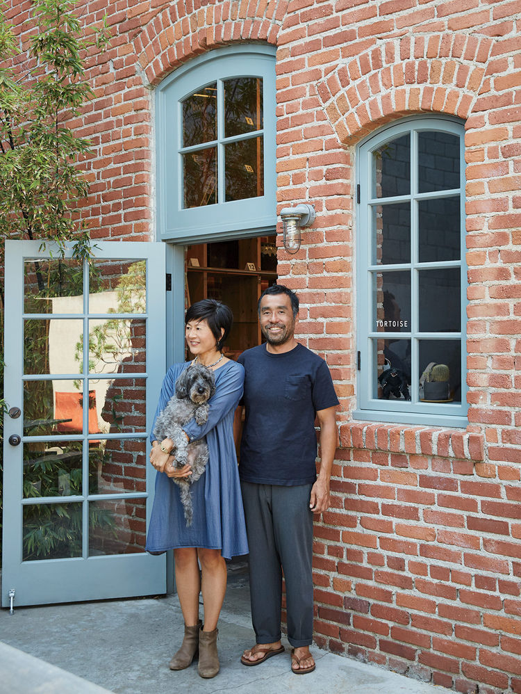 Owners Keiko and Taku Shinomoto outside Tortoise General Store