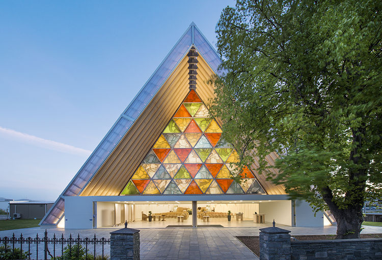 Modern religious architecture like Shigeru Ban cardboard cathedral facade