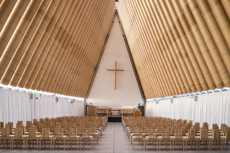Modern religious architecture like Shigeru Ban cardboard cathedral interior