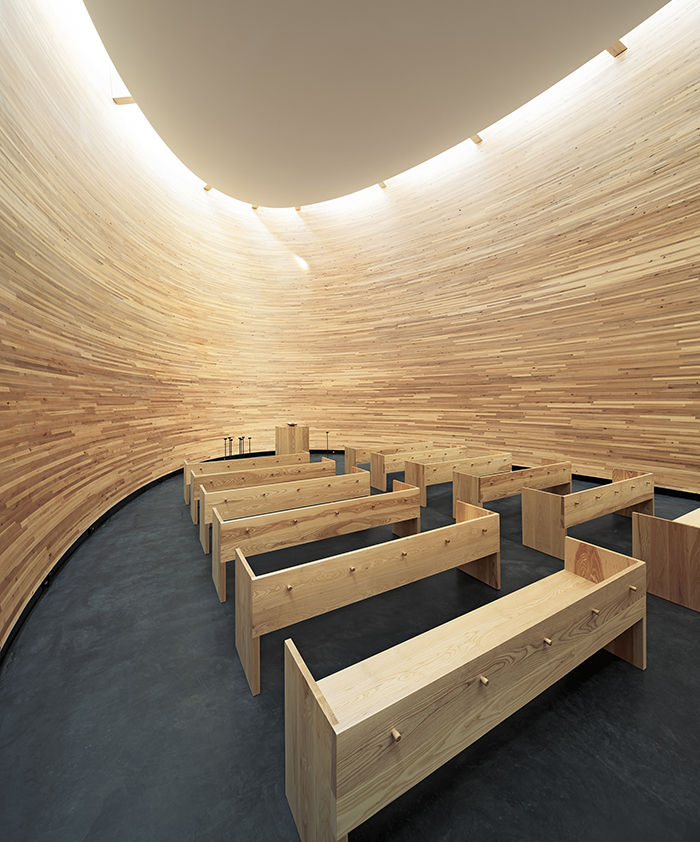 Modern religious architecture like Kamppi Chapel of Silence interior