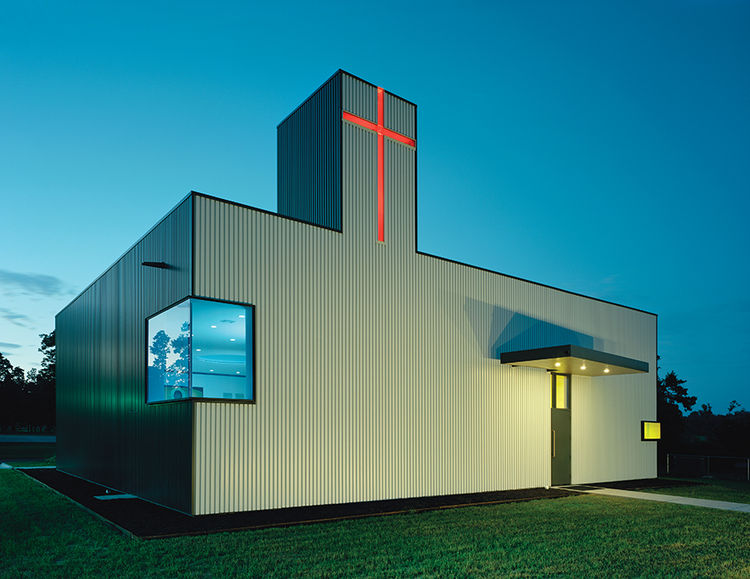 Modern religious architecture like the Orthodox Christian church that was a storage shed with rib metal