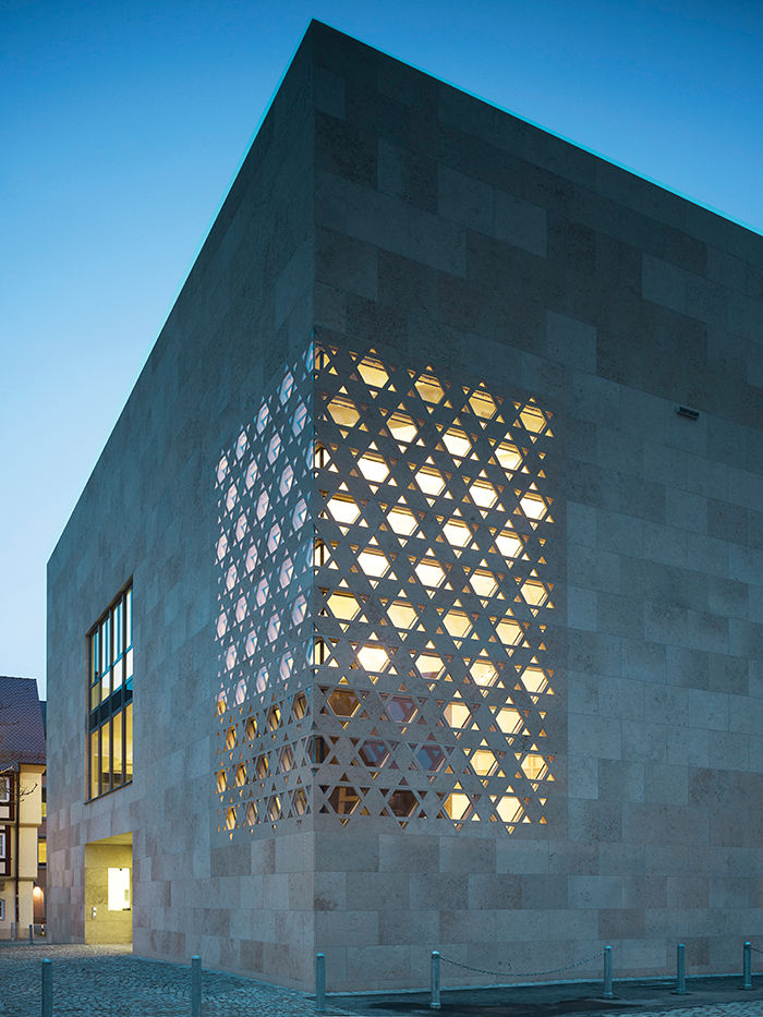 Modern religious architecture like weinhof Synagogue corner laser-jet cut star of david pattern window