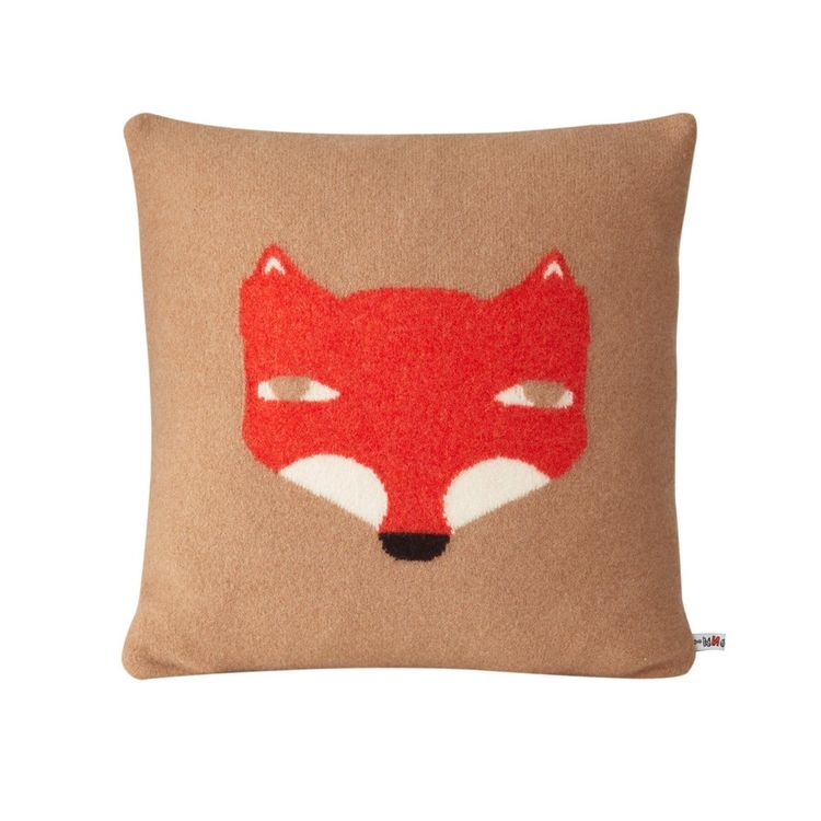 Lambswool throw pillow cover with fox print