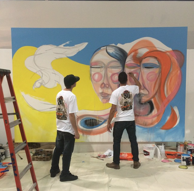 "Norm ""Nomzee"" Maxwell mural with Dunn-Edwards paints at Dwell on Design"
